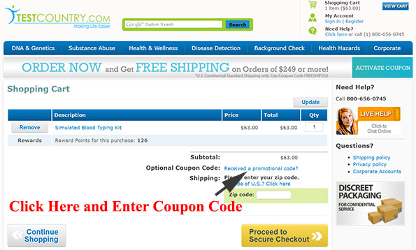 Test Country coupon code